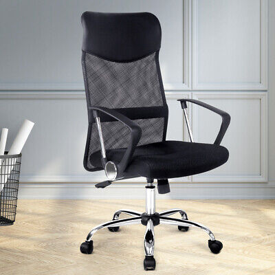 AU89.90 • Buy Artiss Office Chair Computer PU Leather Mesh Chairs Executive High Back Black