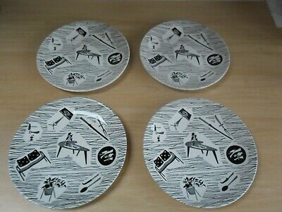 Four RIDGWAY HOMEMAKER  Enid Seely 8 Inch Side Plates In Excellent Condition • 14.99£
