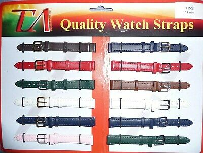 Mens Ladies Genuine Leather Watch Strap Band Colour Collection Sizes 10mm - 14mm • 3.49£