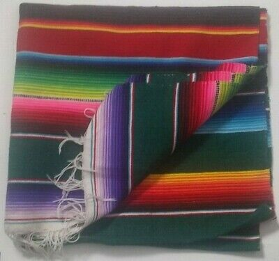 Rainbow Mexican Serape Woven Stripe Narrow Throw Blanket Yoga Mat Fringe 37x74 • 13.68£