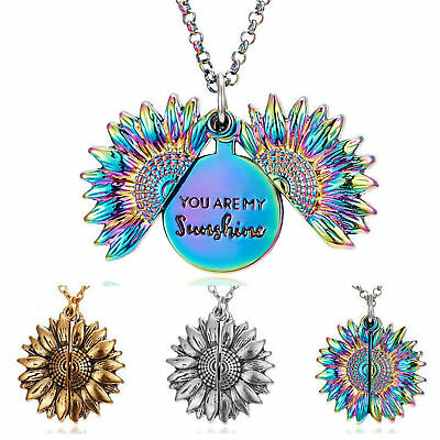 AU5 • Buy You Are My Sunshine Engraved Open Locket Sunflower Pendant Necklace Jewelry Gift
