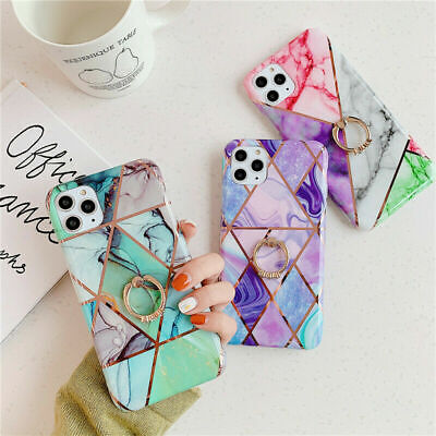 AU15.99 • Buy Marble Soft Case With Diamond Ring Cover For IPhone 11 Pro Max XS XR 6S 7 8 Plus