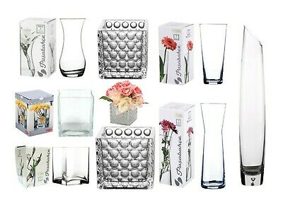 Pasabahce Clear Glass Flower Vase Rounded Square Straight Fluted Centrepiece Wed • 6.25£