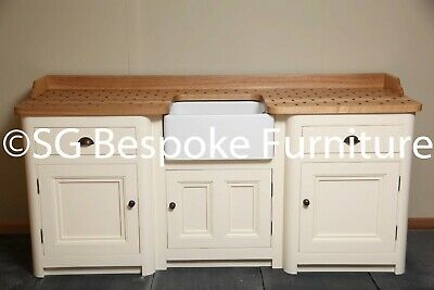 £1800 • Buy Hand Made Free Standing Sink Unit With Belfast Sink & Painted In F&B New White