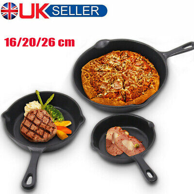 3 Sizes Set Cast Iron Frying Pan Skillet Oven Cooking Griddle Non Stick Grill UK • 13.68£