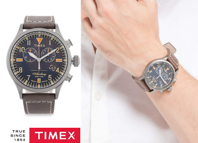 $65 • Buy Timex Originals TW2P84100 Mens Waterbury Brown Leather Strap Chronograph Watch