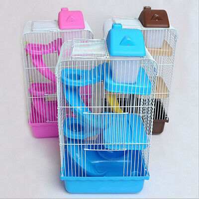 3 Storey Hamster Cage Pet Mice Rat Gerbil Play House - Water Bottle Wheel Ladder • 12.69£