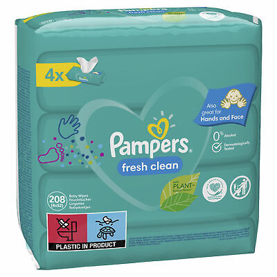 208 X Pampers Baby Wipes Sensitive Pack, Light Scent/Delicate PH Balance Formula • 7.83£