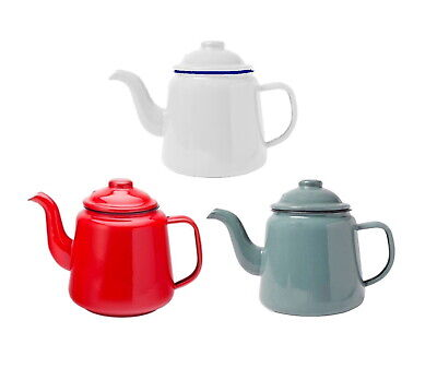 Falcon Enamel Teapot 14cm 1.5L With Handle & Lid Traditional Camping White Red • 18.99£