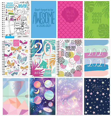2020-2021 A5 Week To View Academic Diary Hardback Spiral Student Teacher Diary • 3.49£