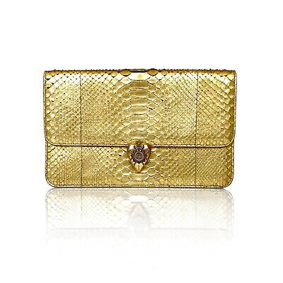 AU880 • Buy Alexander McQueen Gold Python Jewelled Crest Heart Clasp Oversized Clutch Bag