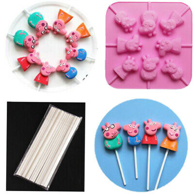 Peppa Pig 3D Silicone Lollipop Shaping Mould +20 Sticks Kit Sweet Chocolate Mold • 4.19£