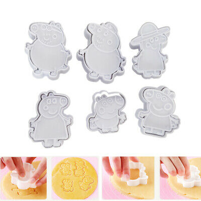 6pcs Peppa Pig Mold Cake Cookie Mold Cutter Fondant Baking Biscuit Tool Kit UK • 6.95£