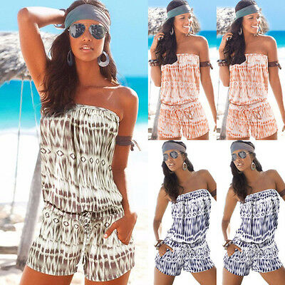 UK Womens Strapless Bandeau Playsuit Beach Shorts Jumpsuit Boobtube Rompers Tops • 9.87£