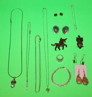 $ CDN85.67 • Buy Lot Of VINTAGE & MODERN STERLING SILVER JEWELRY - RING CHARMS NECKLACE