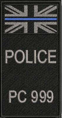 POLICE Badge Number Thin Blue Line HOOKED BACK PATCH 120 X 63,4.75  X 2.5   TBL  • 8.99£