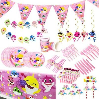 $34.95 • Buy Baby Shark Theme Birthday Party Supplies Decorations Complete Set Pink Tableware