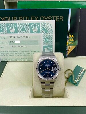 $ CDN5424.01 • Buy Rolex 15210 Date Blue Dial Stainless Steel Box Papers 2001 MINT