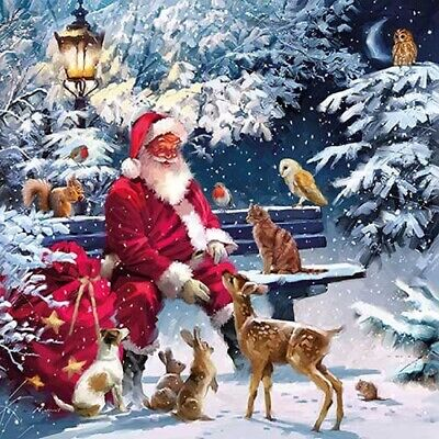 5  Paper Party Napkins Santa On Bench Pack Of 5 3 Ply Serviettes Tissue • 2.50£
