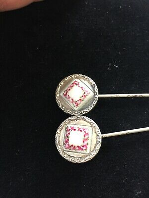 Antique Pair Of Silver Metal Beautifully Enamelled Flowers Hinged Hat Pins • 95£