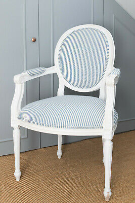 French Style White Wooden Carver Armchair. • 169£