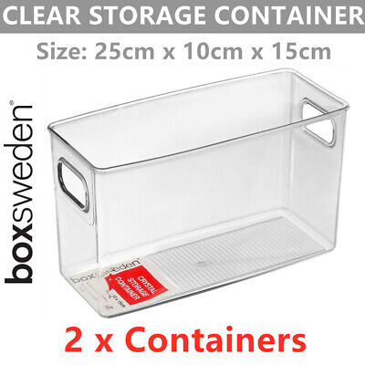 AU19.99 • Buy 2 X Crystal Clear Acrylic Container 25x10CM Tall Storage Fridge Food Office Tray