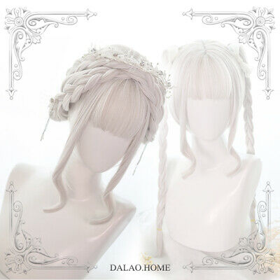 Wig Harajuku Daily Sweet Lolita White Double Horsetail Cosplay Curly Hair Ting1 • 27.69£