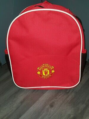 Official Manchester United Backpack 30cms Red With Drink Holder Bag School • 10£