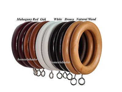 £5.99 • Buy 38 45mm Wooden Curtain Rings Eyelets For Hanging Heavy Duty Elegant Pack Of 6