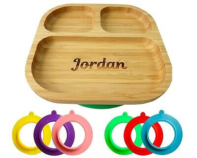 £14.95 • Buy Personalised Baby Plate Bamboo, Bamboo Plates With Suction, Stay Put Plate, Baby