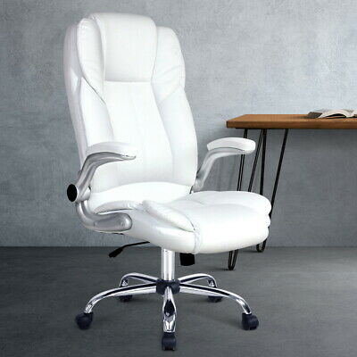 AU169.99 • Buy Artiss Office Chair Computer Gaming Chairs White PU Leather Armchairs Reclining