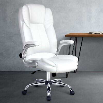 AU195.90 • Buy Artiss Office Chair Gaming Executive Computer Chairs PU Leather Seating White