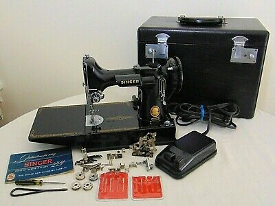 $265 • Buy VINTAGE 1957 SINGER FEATHERWEIGHT 221 SEWING MACHINE, With STORAGE CASE