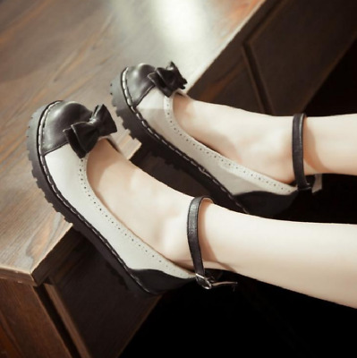 US 10.5 Women Bow Round Toe Flats Sweet Girl Casual Mary Jane Lolita Shoes Ting1 • 32.04£