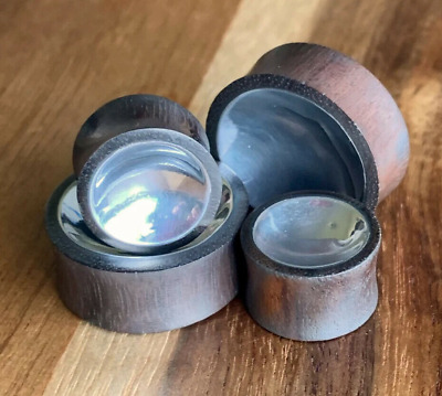 $9.75 • Buy PAIR Concave Silver Tin Sono Wood Plugs Organic Gauges Earlets - Double Sided!