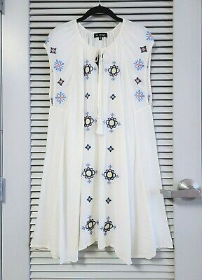 $ CDN1.37 • Buy Off White Floral Embroidery Tie Neck Dress 1XL W/ Anthropologie Earrings