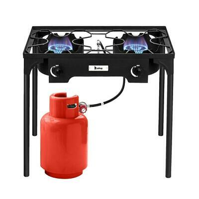 $77.99 • Buy Propane 150000 BTU Double 2 Burner Gas Cooker Stand Stove Outdoor BBQ Grill