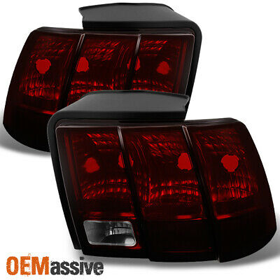 $94.99 • Buy Fit 99-04 Ford Mustang Dark Red Tail Lights Brake Lamps L + R Replacement