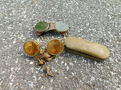 $99.99 • Buy Lot Antique Amber Willson Service Goggles Safety Glasses Vtg Steampunk W/ Case