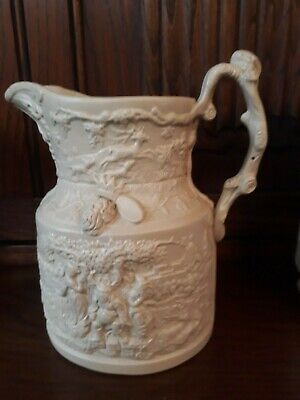 FALSTAFF Relief Moulded Buff Victorian Stoneware Jug MASONS • 25£
