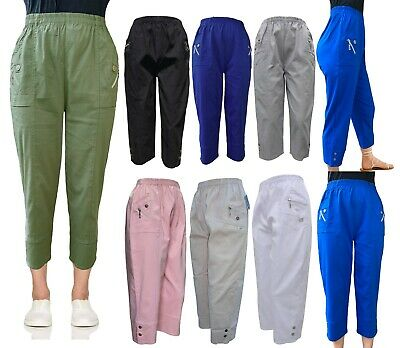 Women Capri Ladies 3/4 Ladies Elasticated Cropped Trousers Plus Pants 14-24 • 12.99£