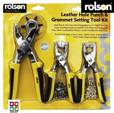 Rolson ® 3pc Leather Hole Punch & Grommet Setting Tool Kit Eyelets Pliers Belt  • 13.99£