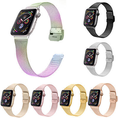 AU16.87 • Buy Stainless Steel Milanese Loop Strap For Apple Watch Band 44mm 40mm 42/38mm Belt