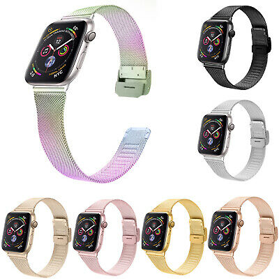 AU13.81 • Buy Stainless Steel Milanese Loop Strap For Apple Watch Band 44mm 40mm 42/38mm Belt