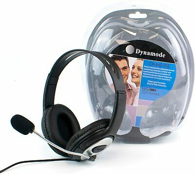 USB Computer Headset With Microphone Over-Ear Headphones Volume Control PC Skype • 29.99£