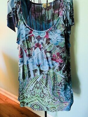 $6.99 • Buy Live And Let Live Womens XL Short Sleeve Blouse Shirt Multi