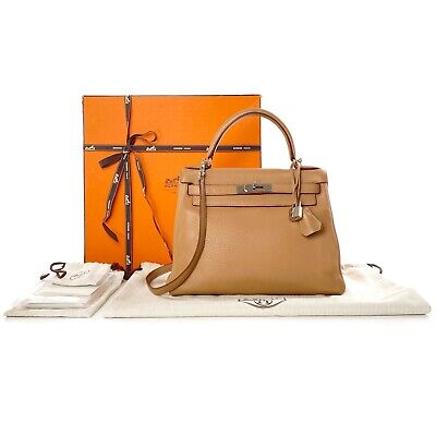 AU12850 • Buy Hermes Tabac Beige Tan Gold Clemence Leather Kelly 28 Retourne Bag Palladium HW