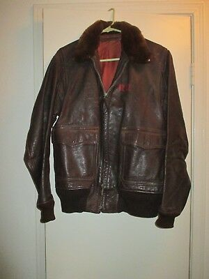 $475 • Buy Military WWII Brown Leather Bomber Flight Jacket M-422a US Navy Willis & Geiger