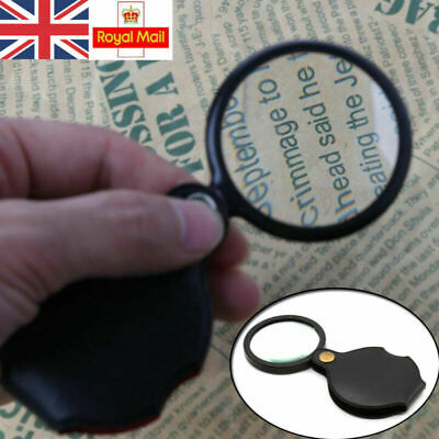 Folding Magnifier Glass Pocket Small Size Optical Magnifying Lens Eye Loupe 5X • 2.91£
