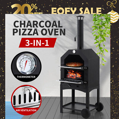AU259.99 • Buy 3in1 Charcoal BBQ Grill Steel Pizza Oven Smoker Outdoor Portable Barbecue Camp